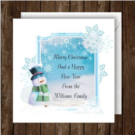 Personalised Christmas Card Snowman BL